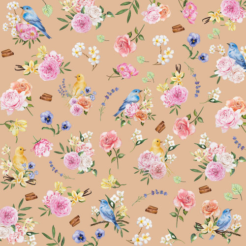 Flower birds pattern design