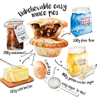 Mince pie food illustration
