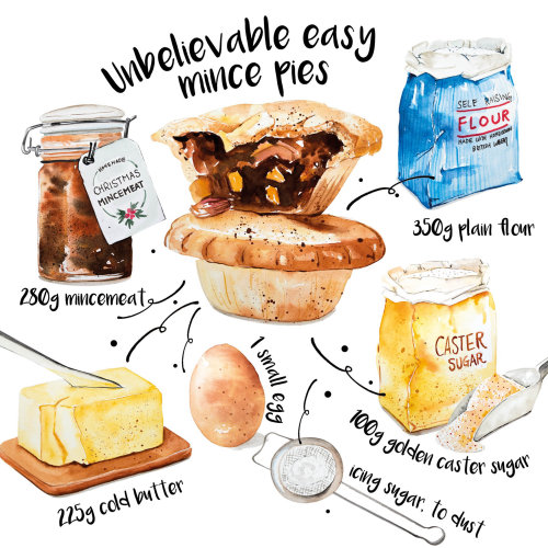 Mince pie food illustration