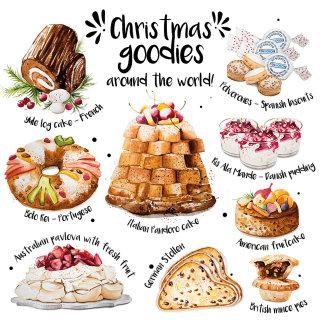 Illustration of Christmas goodies around the world