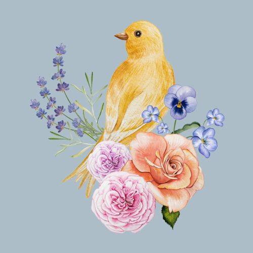 Contemporary art of bird and flowers