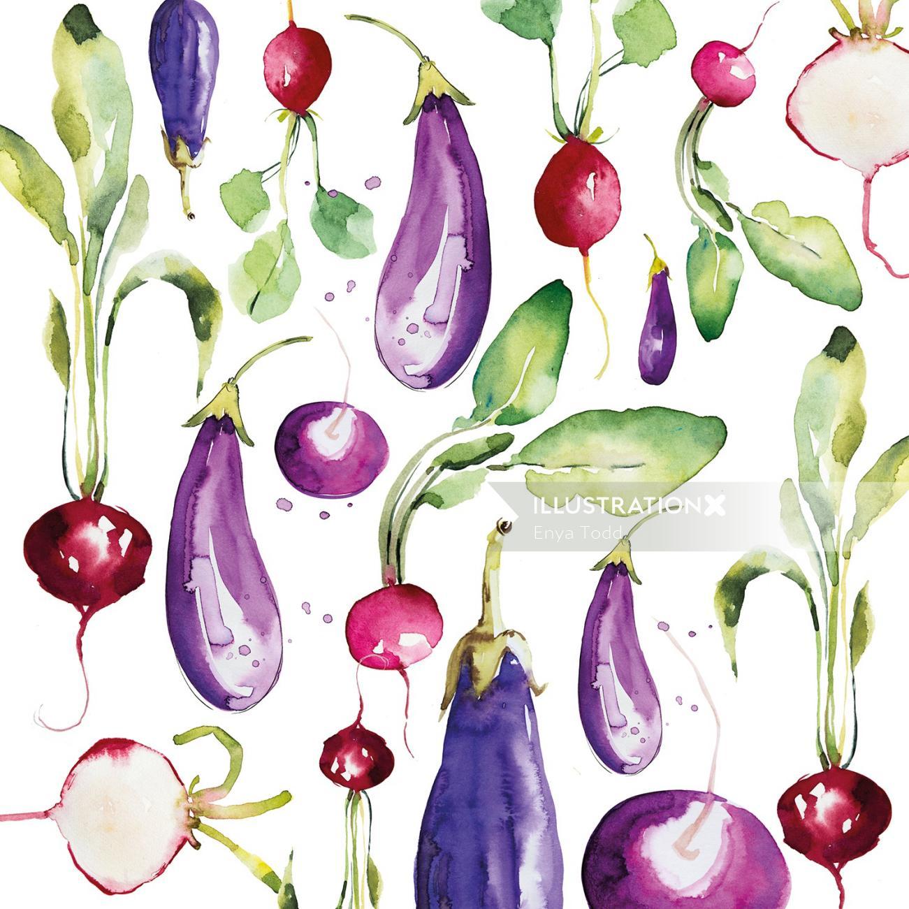 Food illustration of veggie