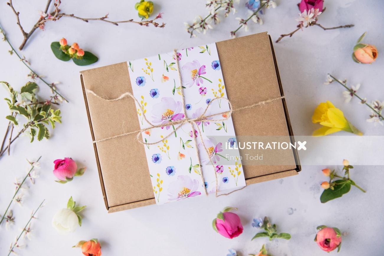 Gift box cover design by Enya Todd