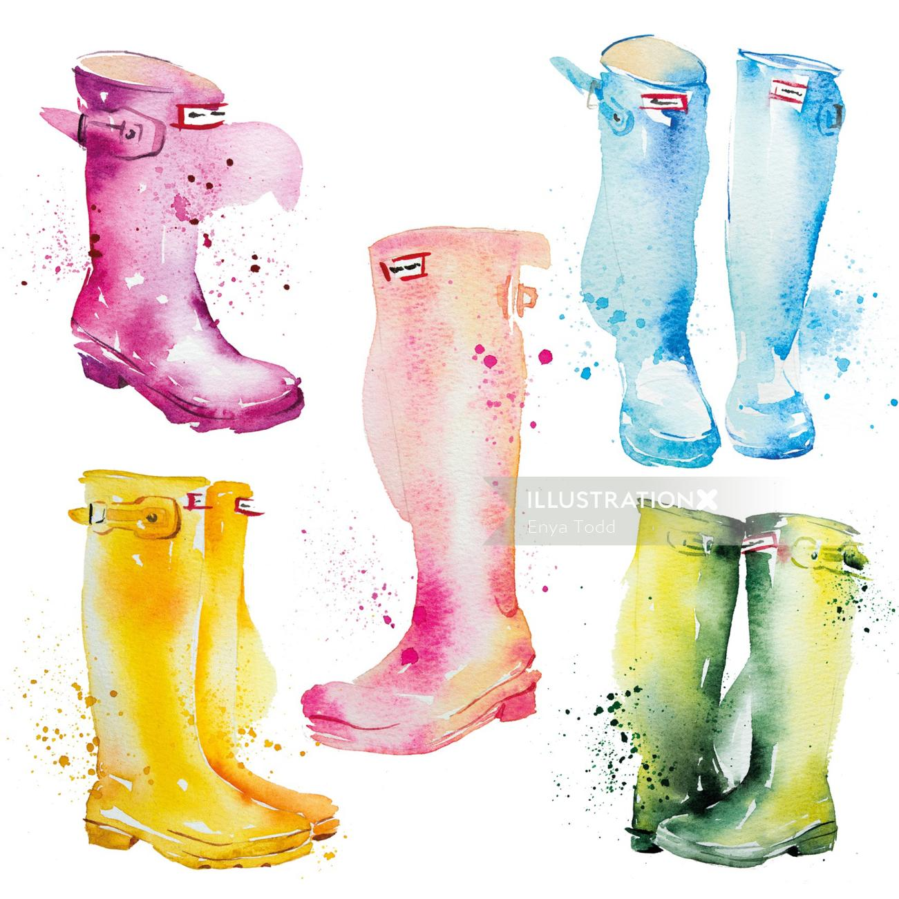 Watercolour of Hunter Boots