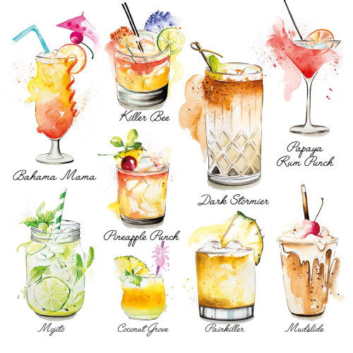 Caribbean Cocktails Illustration