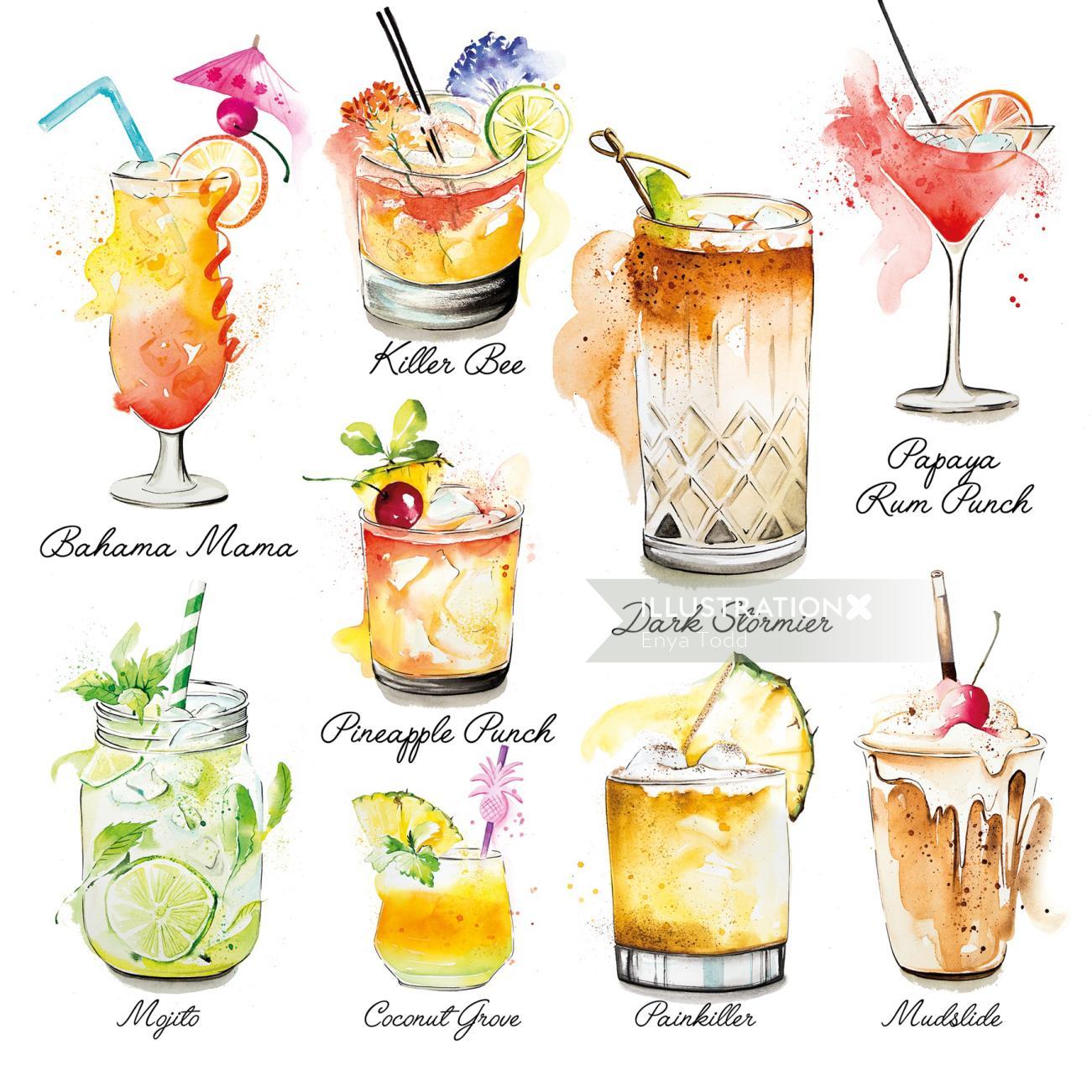 Caribbean Cocktails Illustration