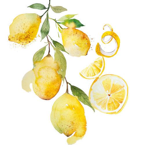 Lemons watercolour pattern design