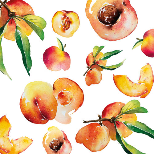 Watercolour of peach pattern
