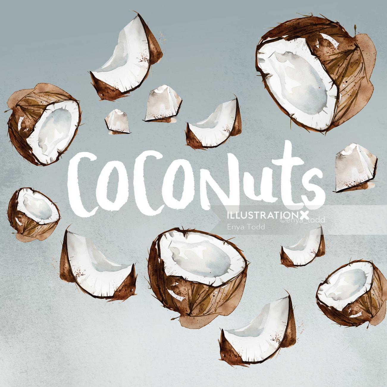 Pattern art of Coconuts