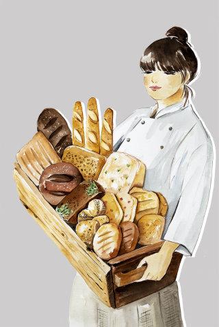 Breakfast tray illustration