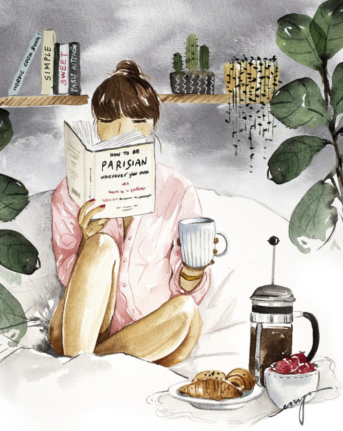 Breakfast on bed illustration