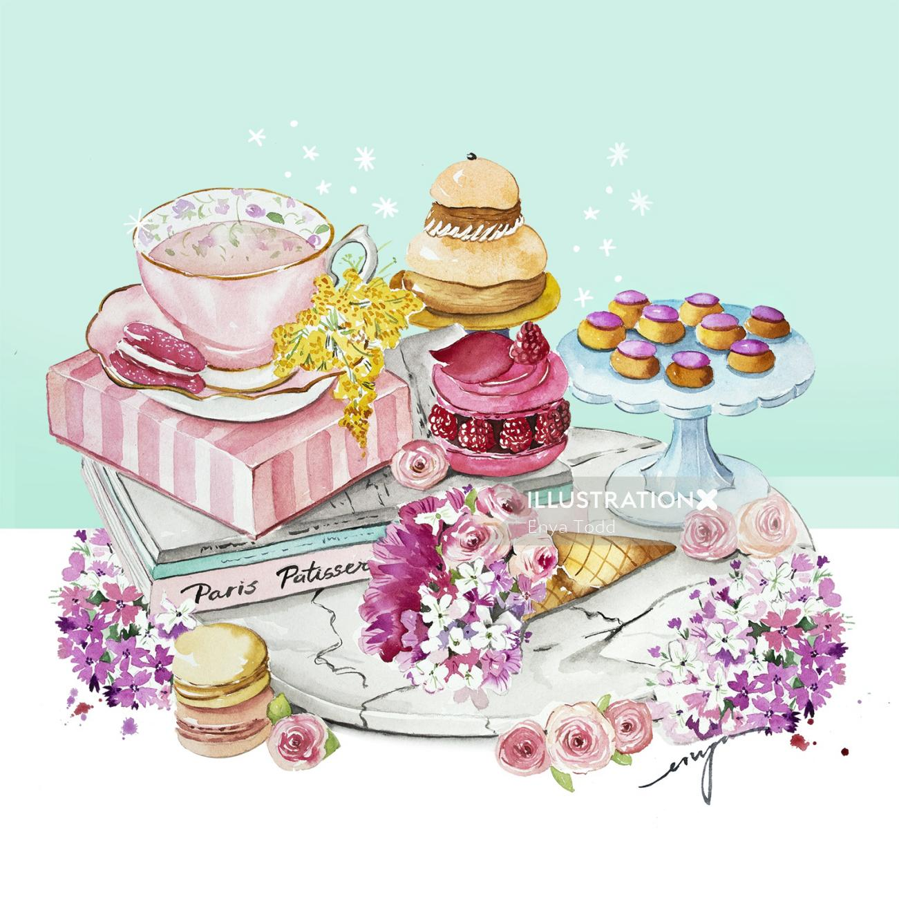 Illustration of Patisserie Table