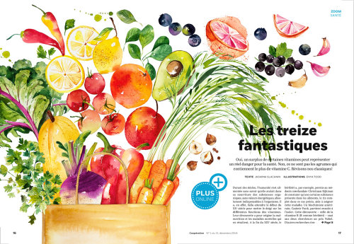 Editorial illustration of Vegetable and Fruits