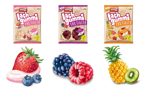 Fresh fruit illustrations for the packaging of Germany's Nimm2 Fruit Gums.