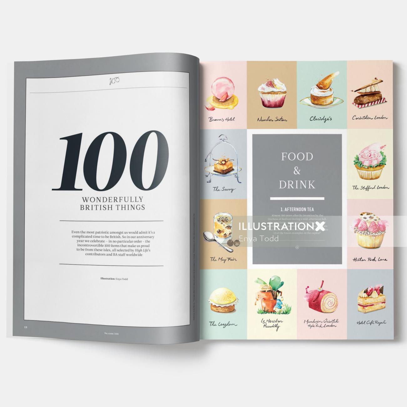 Illustrated the best afternoon tea in British airways inflight magazine