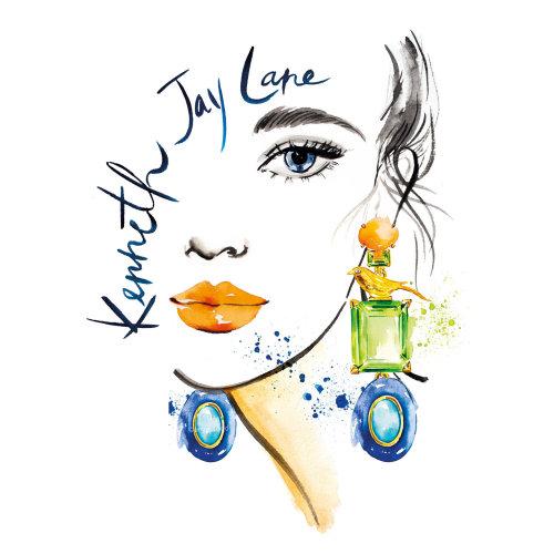 Advertising illustration of Kenneth Jay Lane jewelry