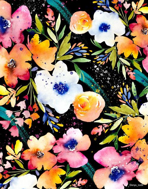 Patrón de flor de acuarela