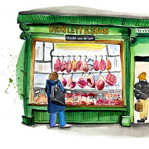 Watercolour Local butcher in Bath