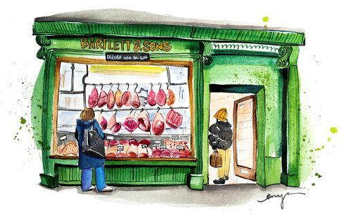 Boucherie locale aquarelle à Bath