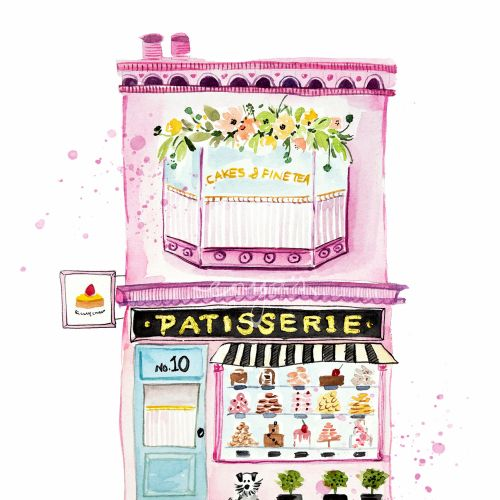 Watercolor The little patisserie shop