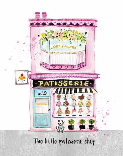 Acuarela La pequeña pastelería
