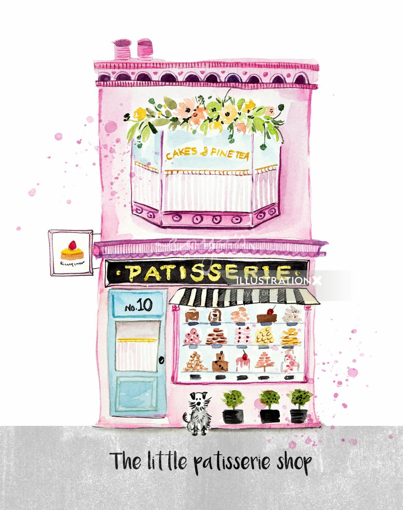 Watercolor The little patisserie shop