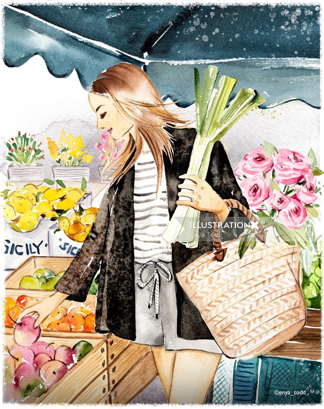 Watercolor Sunday farmer's market