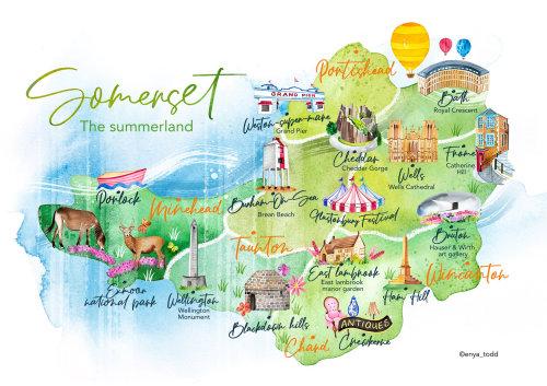 Somerset travel map illustration