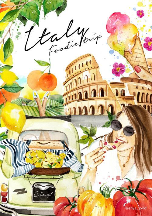 Italy – Foodie trip painting by Enya Todd