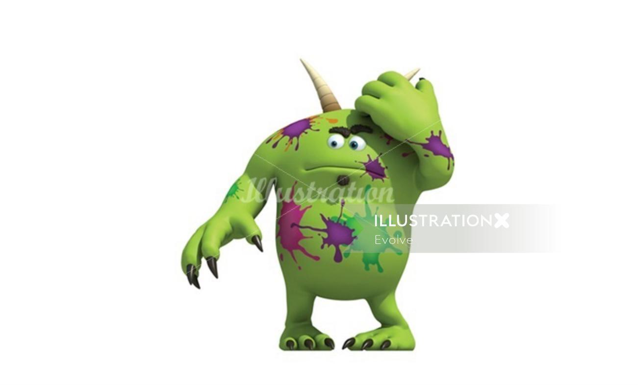 Children illustration Green alien with horn