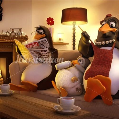 Character design Penguins reading