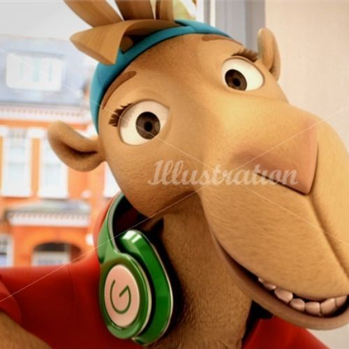 Animals character design of camel with headphones
