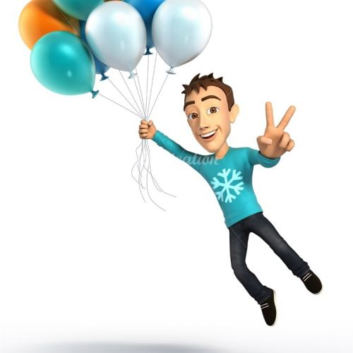 Illustration of kid with balloons