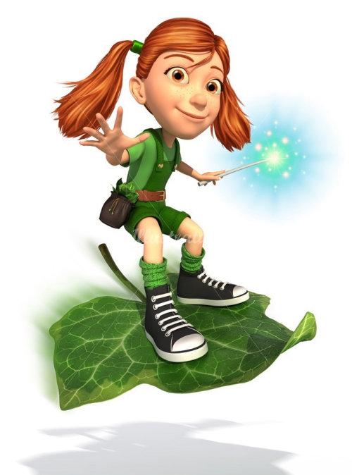 character design girl sliding on leaf