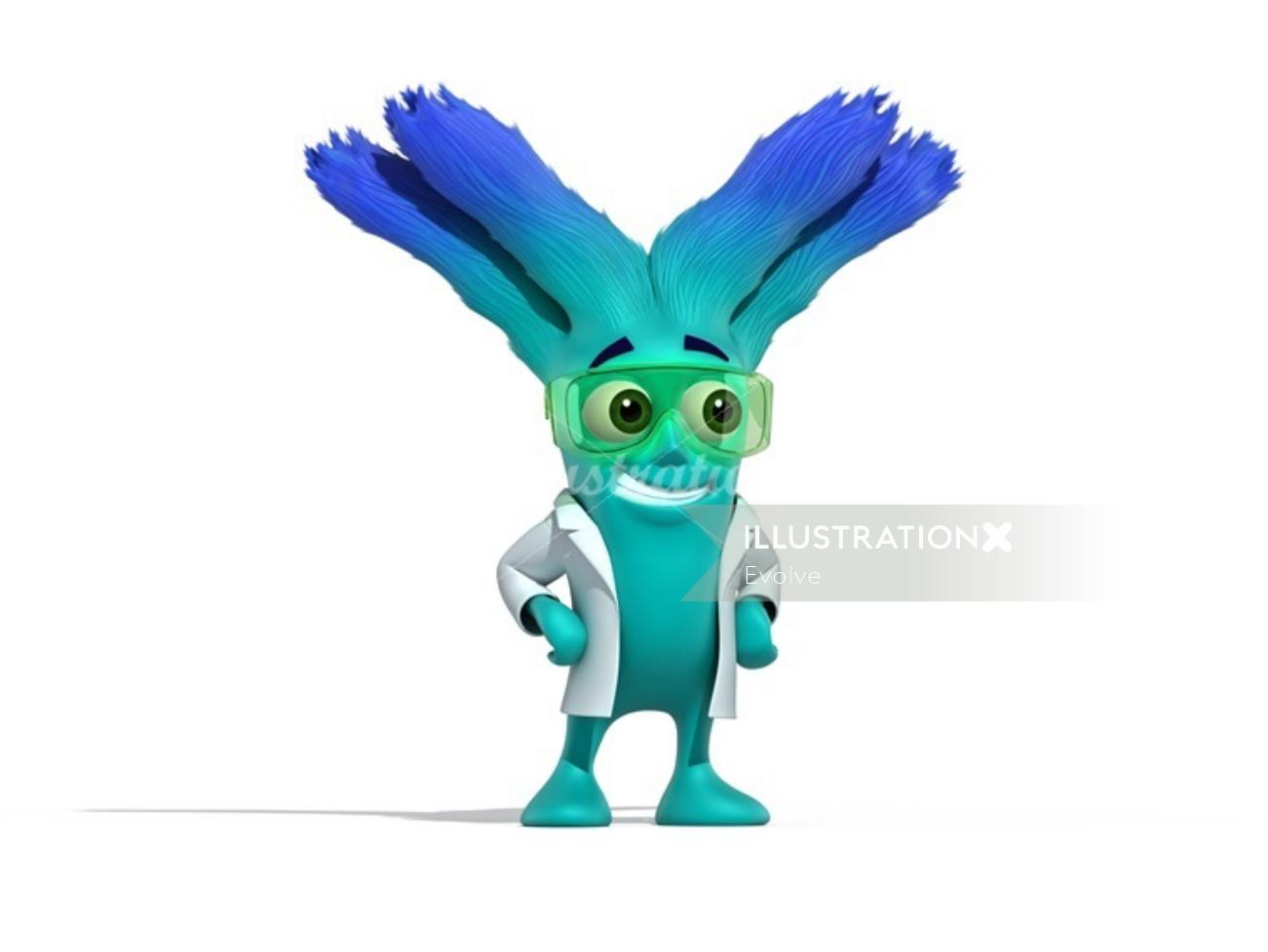 Character design blue smiley alien