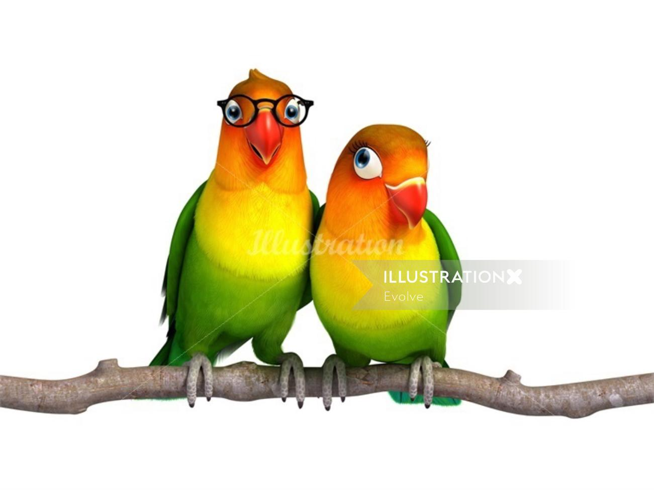 Illustration of parrots