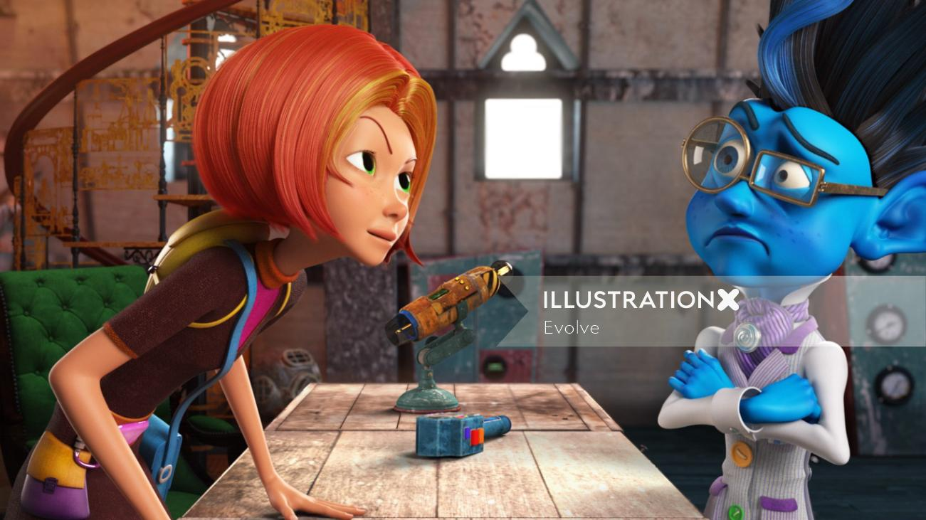 character design girl with blue alien