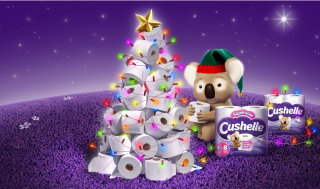 Christmas tree made up of toilet paper illustration