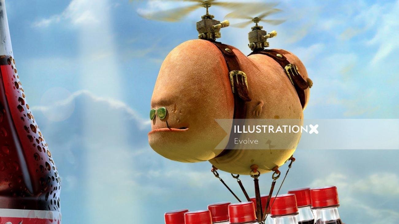 Drawing of potato helicopter carrying soft-drink bottles