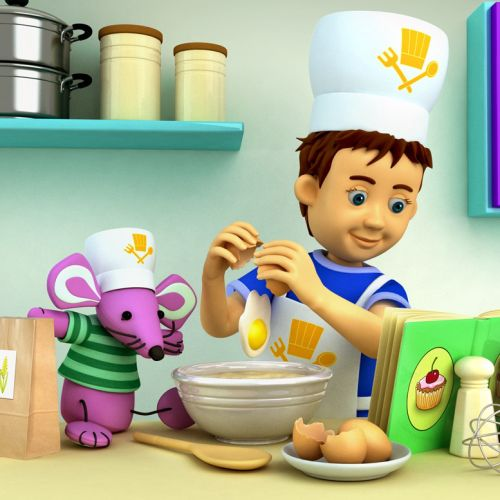 Cartoon Illustration boy chef cooking