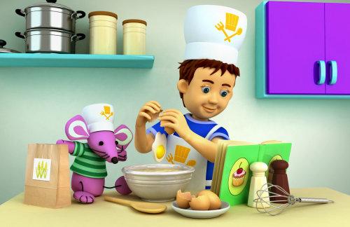 Dessin animé, illustration, garçon, chef cuisinier, cuisine