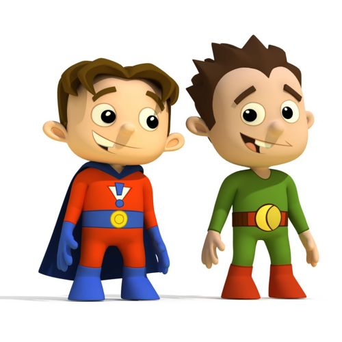 Cartoon Illustration of super hero kids