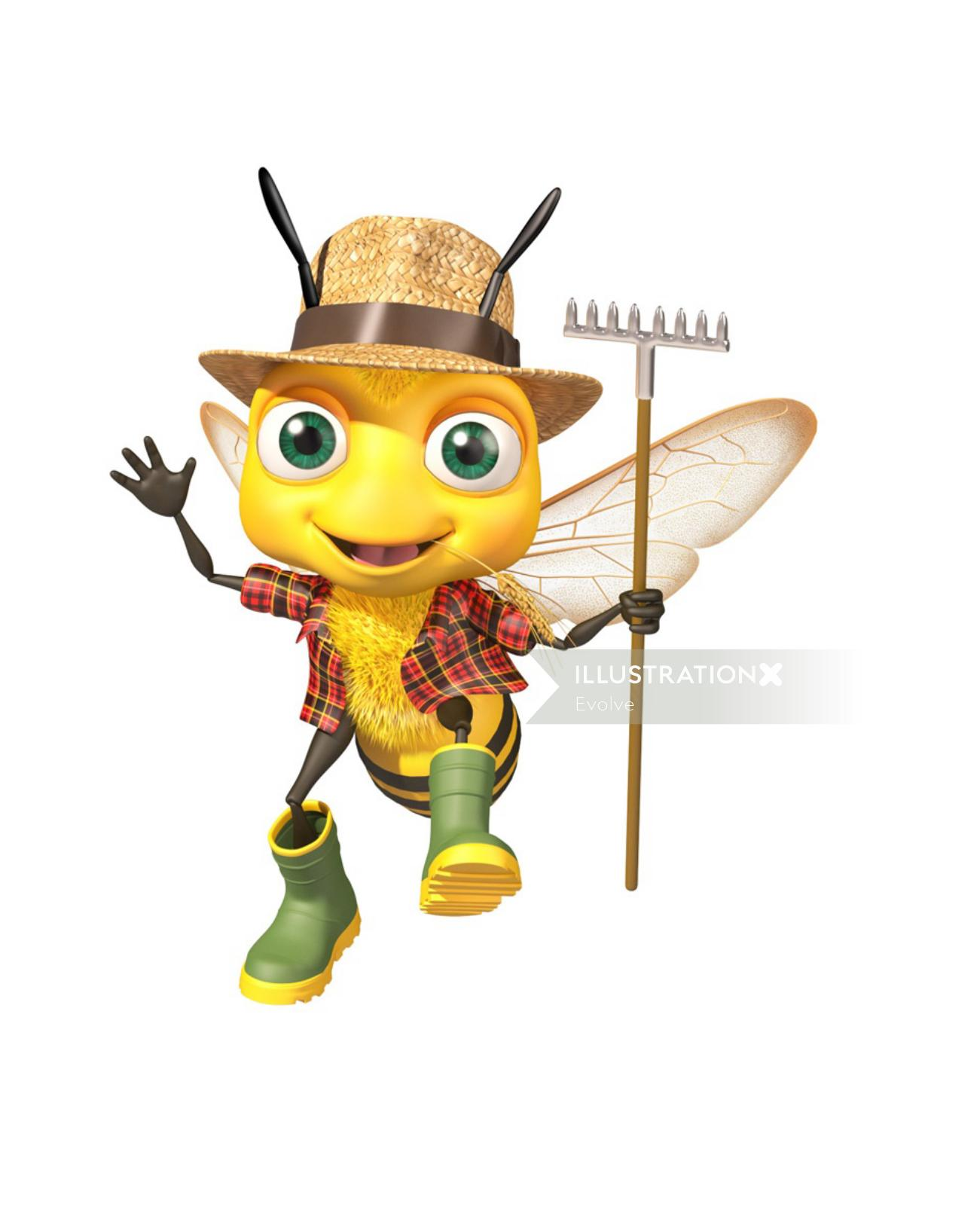 Cartoon illustration of Bee character for Honey's World water