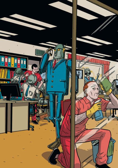 ascensão dos robôs cobrem trabalho