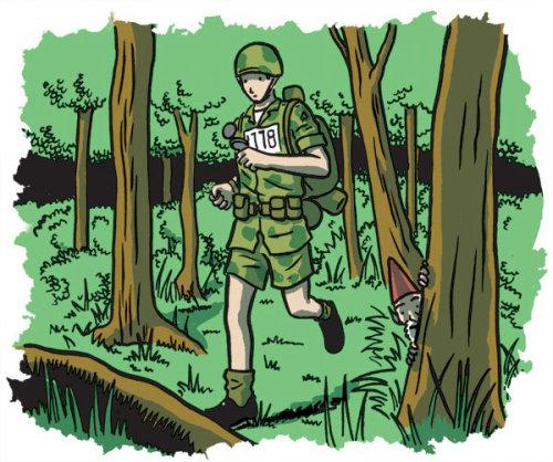 militar correndo na floresta