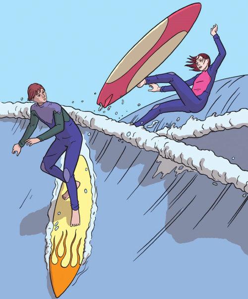 Surfista adolescente caindo na água