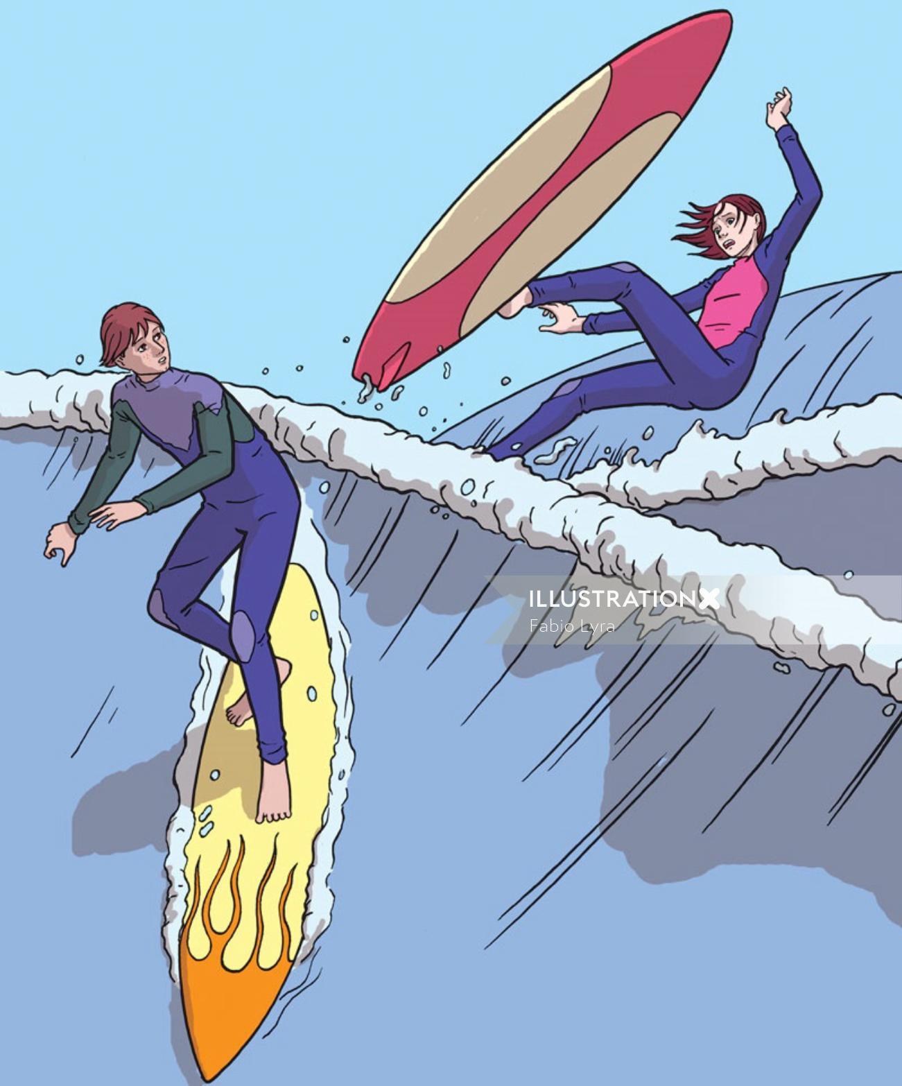 Teen surfer falling in water