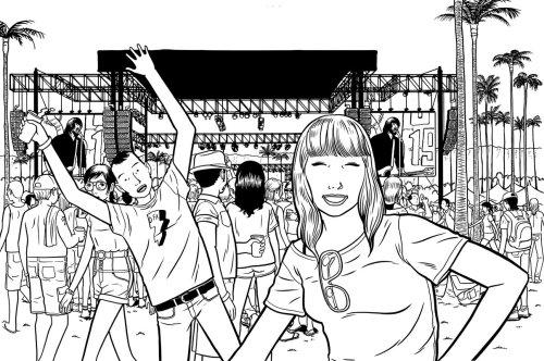 young people enjoying in market artwork