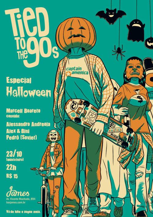 amarrado à capa do dia das bruxas da festa dos anos 90
