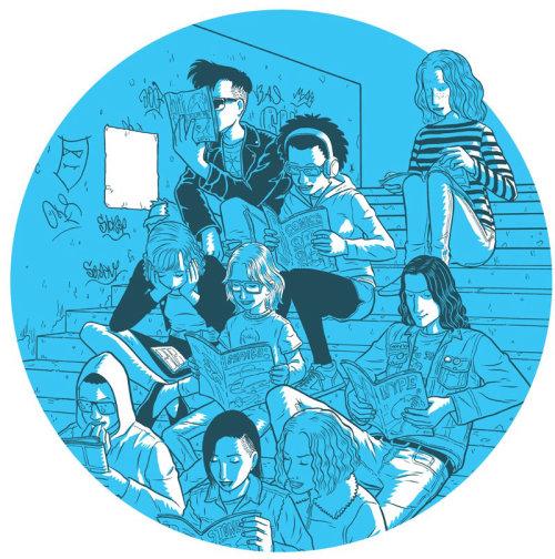 varied personalities sitting on stairs